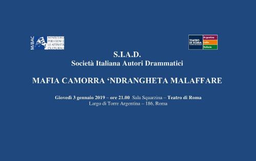 "S.I.A.D. presenta ""MAFIA CAMORRA 'NDRANGHETA MALAFFARE"""