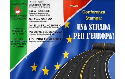 """""""Una strada per l'Europa"""", a Crotone la conferenza stampa"""