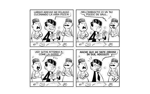 """La vignetta: """"Le avventure di Conte a Napoli: La pizza dai Sorbillo"""""""