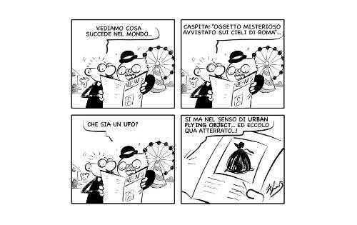 """La vignetta: """"Un UFO a Roma!"""""""