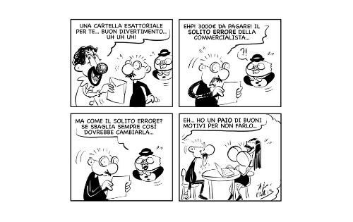"""La vignetta """"Piovono cartelle…"""""""
