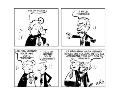 """La vignetta: """"Trump e Biden spiegano il loro programma…"""""""