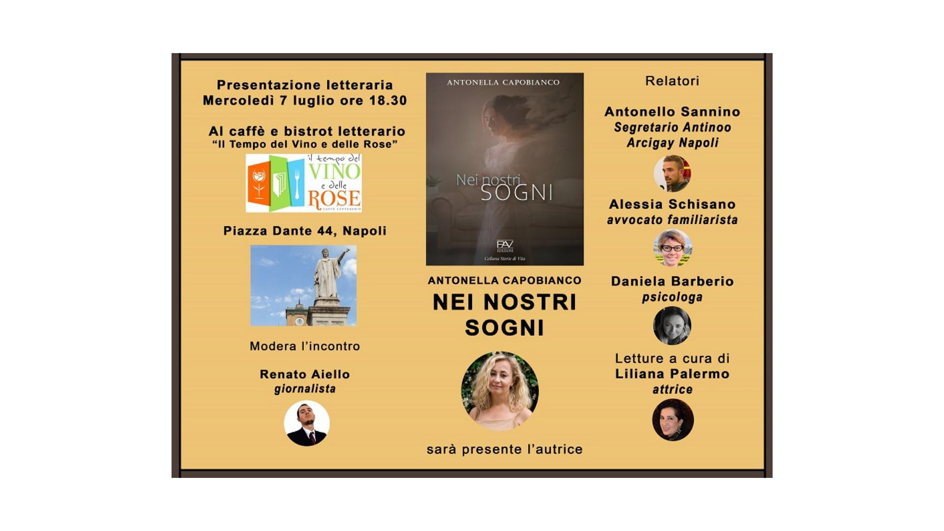 """Locandina presentazione Antonella Capobianco, """"Nei nostri sogni"""""""