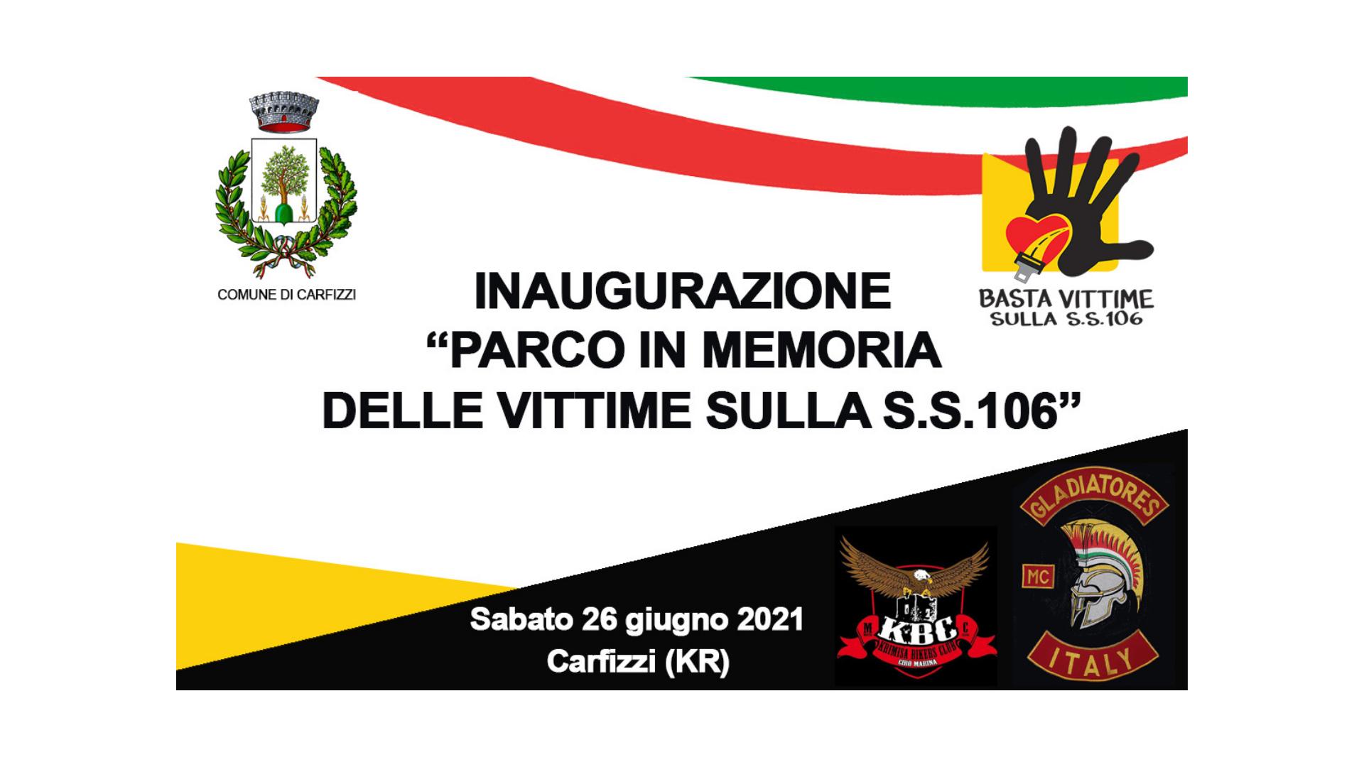"""Carfizzi (KR), domani l'inaugurazione del """"Parco in memoria delle vittime sulla S.S.106"""""""