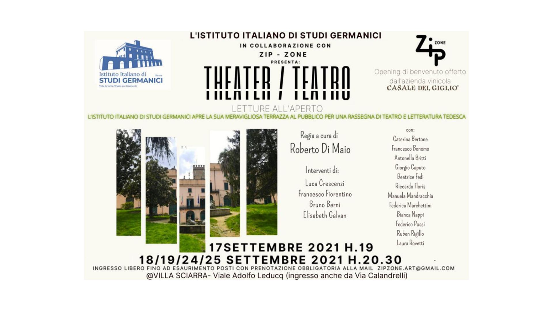 """Istituto Italiano di Studi Germanici con Zip - Zone, """"Theatre/Teatro – Letture all'aperto"""""""