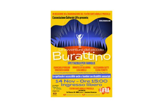 """LIFra e Teatro Santi Aquila e Priscilla presentano """"Le avventure del piccolo Burattino"""""""